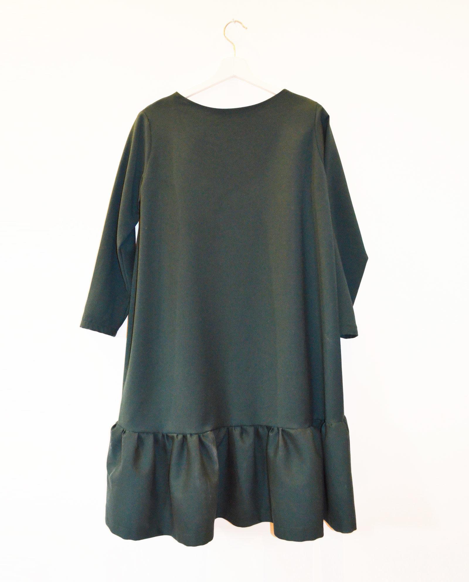 vestido evase verde botella garsonetti
