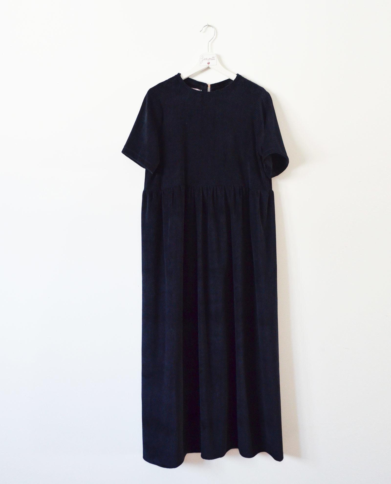 vestido pana azul garsonetti